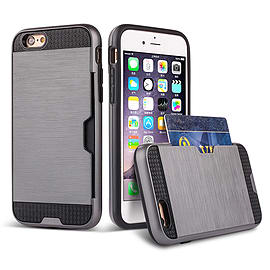 Dual Layer Shockproof Card Slot Case For Apple Iphone 6 4.7? - Grey Mobile phones