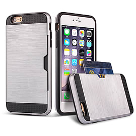 Dual Layer Shockproof Card Slot Case For Apple Iphone 6 4.7? - Silver Mobile phones