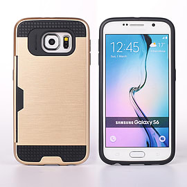 Dual Layer Shockproof Card Slot Case For Samsung Galaxy S6 - Gold Mobile phones