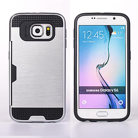 Dual Layer Shockproof Card Slot Case For Samsung Galaxy S6 - Silver Mobile phones
