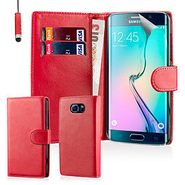 Book Pu Leather Wallet Case For Samsung Galaxy S6 Edge Plus - Red Mobile phones