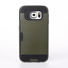 Dual Layer Shockproof Card Slot Case For Samsung Galaxy S6 Edge Plus - Camo Green Mobile phones