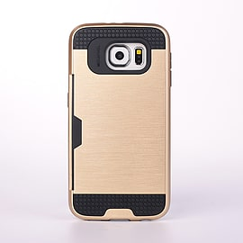 Dual Layer Shockproof Card Slot Case For Samsung Galaxy S6 Edge Plus - Gold Mobile phones