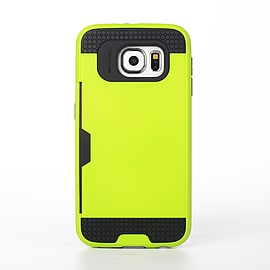Dual Layer Shockproof Card Slot Case For Samsung Galaxy S6 Edge Plus - Lime Green Mobile phones