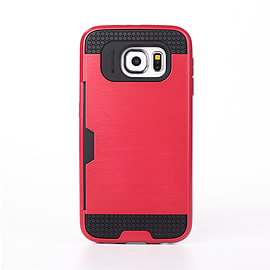 Dual Layer Shockproof Card Slot Case For Samsung Galaxy S6 Edge Plus - Red Mobile phones