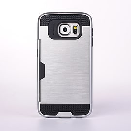 Dual Layer Shockproof Card Slot Case For Samsung Galaxy S6 Edge Plus - Silver Mobile phones