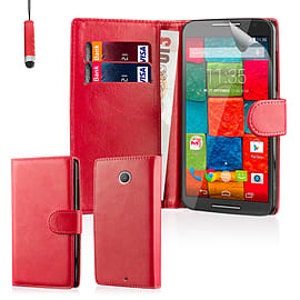Book Pu Leather Wallet Case For Oneplus Two - Red Mobile phones