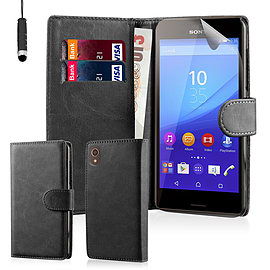 Book Pu Leather Wallet Case For Sony Xperia M5 - Black Mobile phones