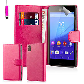 Book Pu Leather Wallet Case For Sony Xperia M5 - Hot Pink Mobile phones
