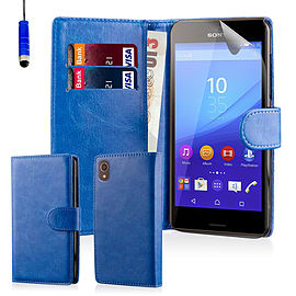 Book Pu Leather Wallet Case For Sony Xperia Z5 Compact - Deep Blue Mobile phones