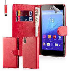 Book Pu Leather Wallet Case For Sony Xperia Z5 Compact - Red Mobile phones