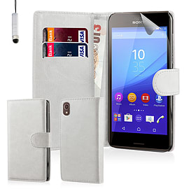 Book Pu Leather Wallet Case For Sony Xperia Z5 Compact - White Mobile phones