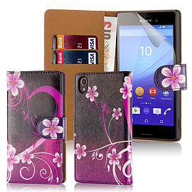 Design Book Pu Leather Wallet Case For Sony Xperia Z5 Compact - Love Heart Mobile phones