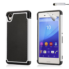 Dual Layer Shockproof Case For Sony Xperia Z5 Compact - White Mobile phones