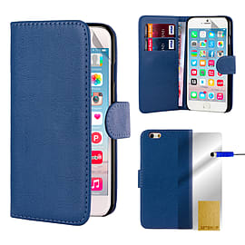 Book Pu Leather Wallet Case For Apple Iphone 6s - Deep Blue Mobile phones