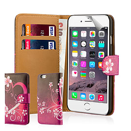 Design Book Pu Leather Wallet Case For Apple Iphone 6s - Love Heart Mobile phones