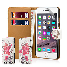 Design Book Pu Leather Wallet Case For Apple Iphone 6s - Purple Rose Mobile phones
