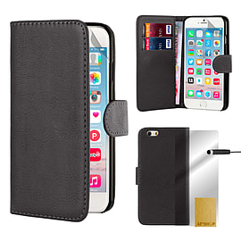 Book Pu Leather Wallet Case For Apple Iphone 6s Plus - Black Mobile phones