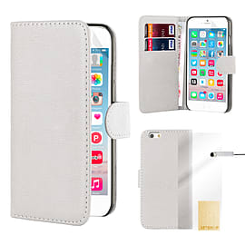 Book Pu Leather Wallet Case For Apple Iphone 6s Plus - White Mobile phones