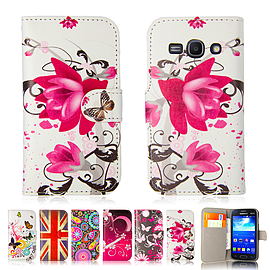 Design Book Pu Leather Wallet Case For Samsung Galaxy A3 - Purple Rose Mobile phones
