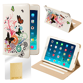 Design Book Pu Leather Wallet Case For Apple Ipad Mini 4 - Colour Butterfly Tablet