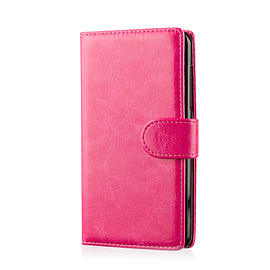 Book Pu Leather Wallet Case For Lenovo A6000 - Hot Pink Mobile phones