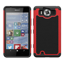 Dual Layer Shockproof Case For Microsoft Lumia 950 - Red Mobile phones