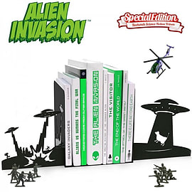 Alien Invasion Novelty Science Fiction Bookends Figurines and Sets