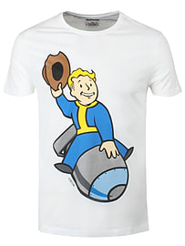 Fallout 4 Vault Boy Bomber White Men's T-shirt: Large (mens 40- 42) Clothing