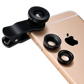 FrostyCow 3 In 1 Camera Lens Kit Wide Angle Fish Eye Macro For Smartphones Apple Samsung Mobile phones