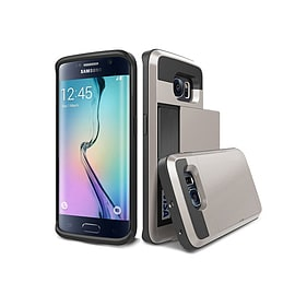 Frostycow Hard Card Shock Case Cover for Samsung Galaxy S6 EDGE FREE SCREEN Protector Silver Mobile phones