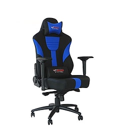 GT Omega MASTER XL Racing Office Chair Black and Blue Leather Multi Format and Universal
