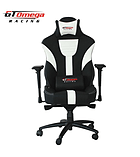 GT Omega MASTER XL Racing Office Chair Black and White Leather screen shot 4