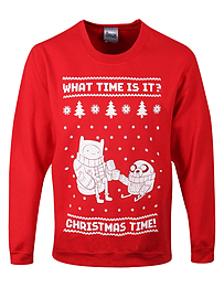 Adventure Time Christmas Time! Christmas Sweatshirt Red Men's AT Sweater: XL (Mens 42- 44) Clothing