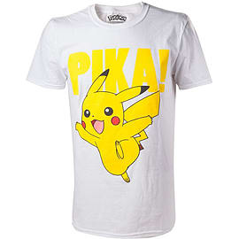 Pokemon Pikachu Pika! Raised Print Men's T-shirt, Large, White Clothing