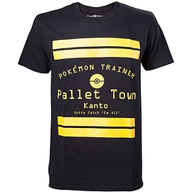 Pokemon Pallet Town Kanto Men's T-shirt, Medium, Black Clothing