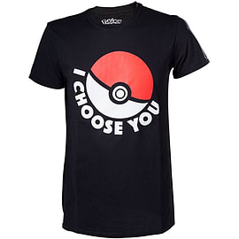 Pokemon I Choose You Men's T-shirt, Extra Small, Black Clothing