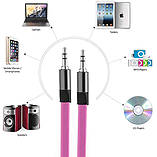 VEO | 3.5 MM Stereo Jack to Jack Cable, Flat Anti Tangle Auxiliary Cable for 3.5 aux input - Pink screen shot 4
