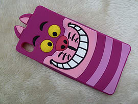 DIA CHESHIRE CAT FACE SILICONE CASE COVER FOR SONY XPERIA Z4 (B4 PURPLE) Mobile phones