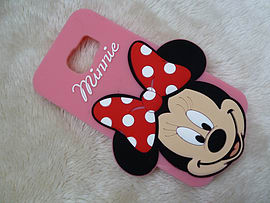 DIA BIG FACE MINNIE MOUSE SILICONE CASE COVER FOR SAMSUNG GALAXY S6 (A5 LIGHT PINK) Mobile phones