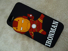 DIA CARTOON IRONMAN BLACK SILICONE CASE COVER FOR IPHONE 6+ (B12 BLACK) Mobile phones