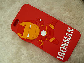 DIA CARTOON IRONMAN RED SILICONE CASE COVER FOR IPHONE 6+ (F6 RED) Mobile phones