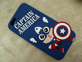 DIA CARTOON CAPTAIN AMERICA SILICONE CASE COVER FOR IPHONE 6+ (F14 ROYAL BLUE) Mobile phones