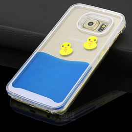 DIA LIQUID DUCK HARD CASE COVER FOR SAMSUNG GALAXY S6 (C9 CLEAR/BLUE) Mobile phones