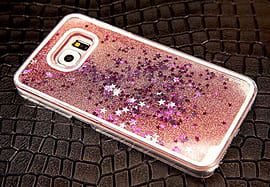 DIA LIQUID LIGHT PINK STARS HARD CASE COVER FOR SAMSUNG GALAXY S6 (D15 CLEAR/LIGHT PINK) Mobile phones