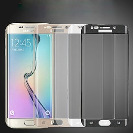 Full curved for Samsung S6 Edge 3D Anti-Dust Screen Protector Tempered Glass Film - Gold Mobile phones
