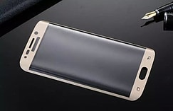 Full curved for Samsung S6 Edge 3D Anti-Dust Screen Protector Tempered Glass Film - Gold screen shot 3