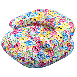 24 Inflatable Rainbow Happy Face Print Chair (Pink/Yellow) Multi Format and Universal