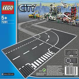 LEGO City T-Junction & Curved Road Plates 7281 Blocks and Bricks