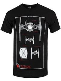 Star Wars The Force Awakens Tie Fighter Manual Black Men's T-shirt: Large (Mens 40- 42) Clothing